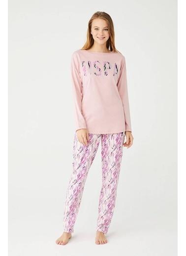 U.S. Polo Assn. Kadın Yuvarlak Yaka Pijama Takım Pudra